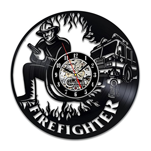 Fire Truck Clock - Firefighter Vinyl Wall Clock Retirement Gift Art Gifts for Women Men Decor Fire Truck Items Birthday Party Vintage Decal Artwork