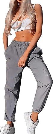 FASHION Flash Riflettente Jogger Pantaloni Donna Casual Tinta Unita Harem Pantaloni Pants L