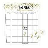 25 Gold Bingo Game Cards For Baby Shower, Bulk Blank Bingo Squares, PLUS 25 Pack of Baby Feet Game Chips, Funny Baby Party Ideas and Supplies For Girl or Boy, Cute Paper Pattern For Kids and Children