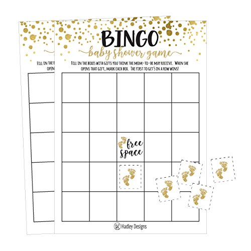 25 Gold Bingo Game Cards For Baby Shower, Bulk Blank Bingo Squares, PLUS 25 Pack of Baby Feet Game Chips, Funny Baby Party Ideas and Supplies For Girl or Boy, Cute Paper Pattern For Kids and Children -