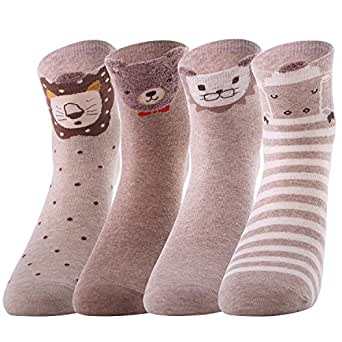 4 Pairs Soft Comfortable Novelty Cartoon Animal Cat Crew Pattern Cotton Socks (4 colors animal I)