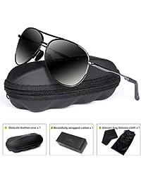Polarized Aviator Sunglasses for Men - goudi Metal Frame driving UV 400 Protection Mens Women Mirror Sunglasses 8002