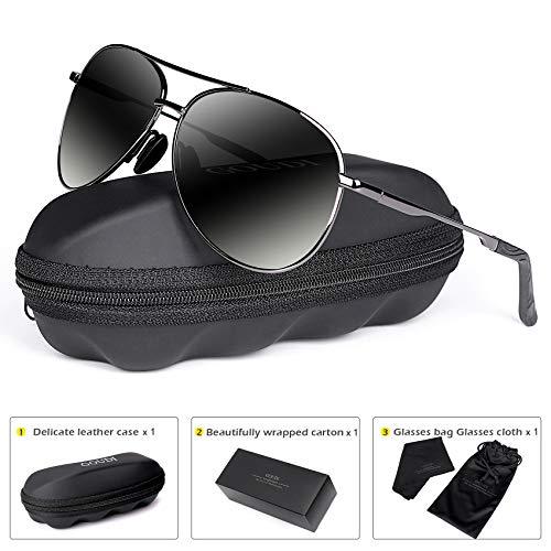 Polarized Aviator Sunglasses for Men - goudi Metal Frame driving UV 400 Protection Mens Women Mirror Sunglasses 8002(black/gun)