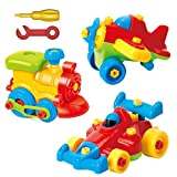ToyVelt Take Apart Toys - Toy Airplane - Toy Train - Toy Racing Car for kids with tool Set - The Take-A-Part Play Set Construction Engineering Building Game Toys For Boys And Girls 3 Year Olds And Up - 3 Pack