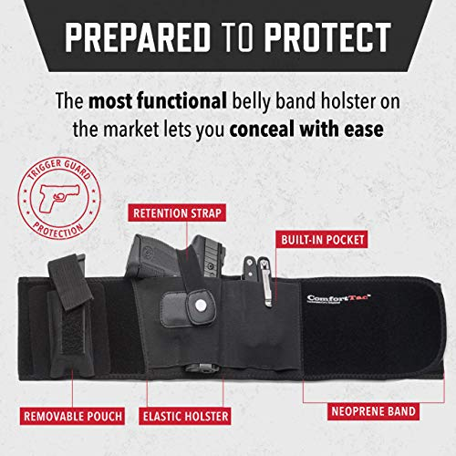 ComfortTac Ultimate Belly Band Holster for Concealed Carry | Compatible with Gun Smith and Wesson Bodyguard, Shield, Glock 19, 17, 42, 43, P238, Ruger LCP, and Similar Sized Guns | for Men and Women