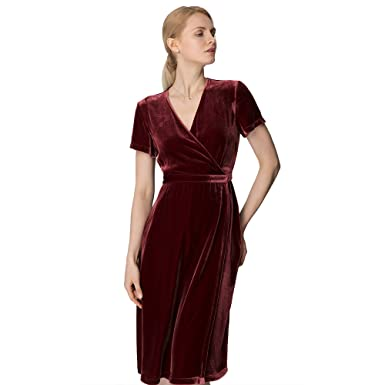0b73be463fc2 LILYSILK Waist Curving Silk Velvet Wrap Dress Midi Length Dress for Ladies  XXL,Velvet Claret: Amazon.co.uk: Clothing