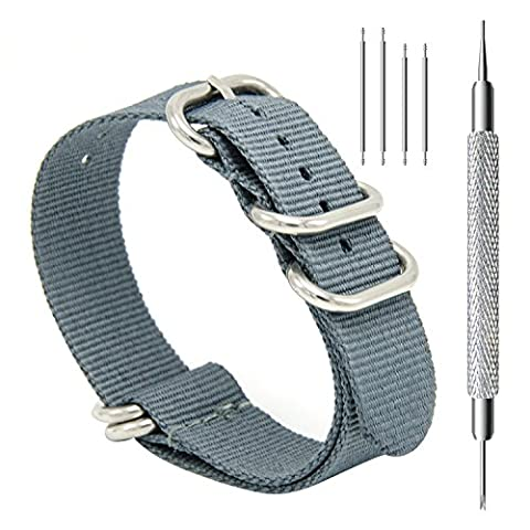 CIVO Heavy Duty G10 Zulu Military Watch Bands NATO Premium Ballistic Nylon Watch Strap 5 White Rings with Stainless Steel Buckle 20mm 22mm 24mm … (smoke grey, (Pebble Band Ring)