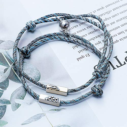 Couple Bracelets Magnetic Mutual Attraction Rope S925 Silver Charm Pendant Engraved Vows of Eternal Love Braided Cuff Valentines Brithday Xmas Gifts for Boyfriend Girlfriend (A Design- [S925 pendant])