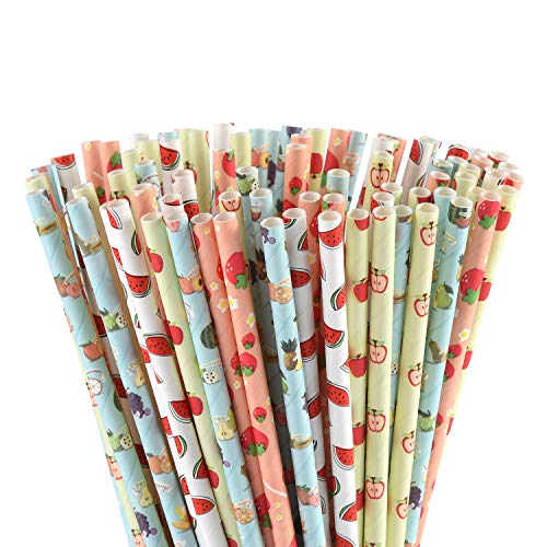 ALINK Biodegradable Hawaiian Tropical Party Paper Straws, Watermelon/Strawberry/Apple/Banana Fun Fruit Straws for Summer Beach Pool Cocktail Luau Decorations, Pack of 100