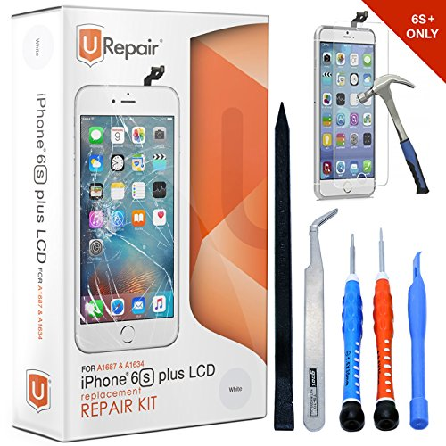 iPhone 6s Plus Screen Replacement White LCD Premium Complete Repair Kit with Tools -Easy Manuals Videos and Instructions with Glass Screen Protector,3D Touch 6s Display Assembly