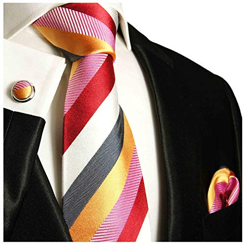 Red, Gold, White and Grey Striped Necktie with Pocket Square and Cufflinks 100% Silk (White Gold Genuine Cufflinks)