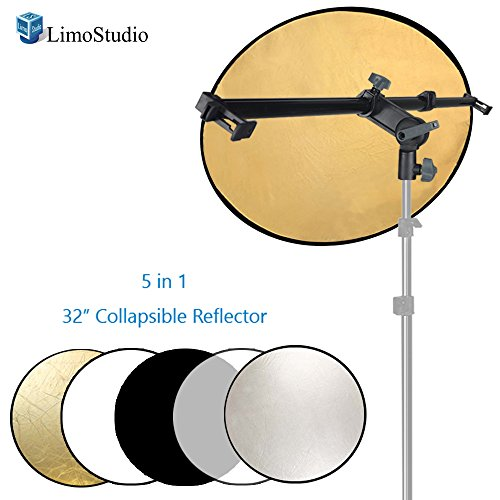 LimoStudio Swivel Head Reflector Support Holder Arm, Boom Stand Arm Bar with 32 Inch Diameter 5 Color in 1 Round Collapsible Reflector Disc Panel, Hand Held, Boom Stand Kit, Photo Studio, AGG2083 by LimoStudio