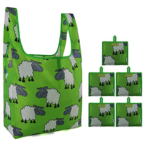 5 Set of Foldable Grocery Bags Reusable with Little Attached Pouch Cute Animal Machine Washable Shopping Bags Sheep Pattern Lime (Sheep Pattern)