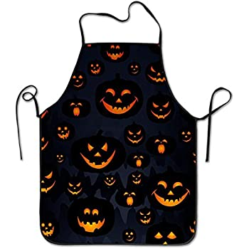 Halloween Pumpkin Lock Edge Waterproof Durable String Adjustable Easy Care Cooking Apron Kitchen Apron For Women Men Chef