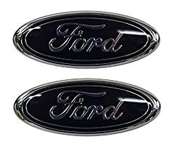 Muzzys (SET OF TWO) FORD 05-14 F150 Black Front Grille AND Tailgate Emblem Set, Oval 9\