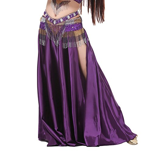 [AvaCostume Womens Split Sides Long Belly Dance Skirts, purple] (Belly Dancing Dress)