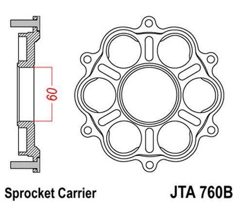 JT Sprockets JTA760B Aluminum Rear Sprocket Carrier