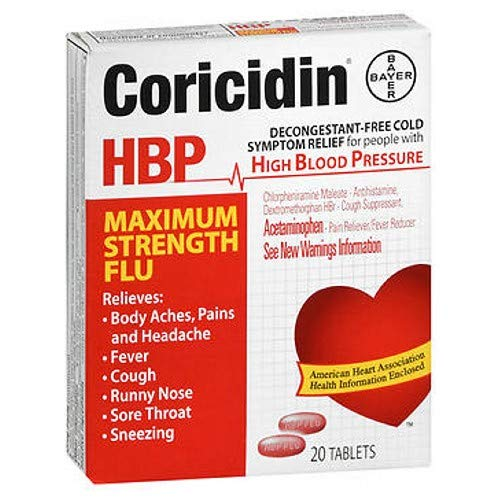 Coricidin HBP Maximum Strength Flu Tablets-20 ct. (Pack of 5)
