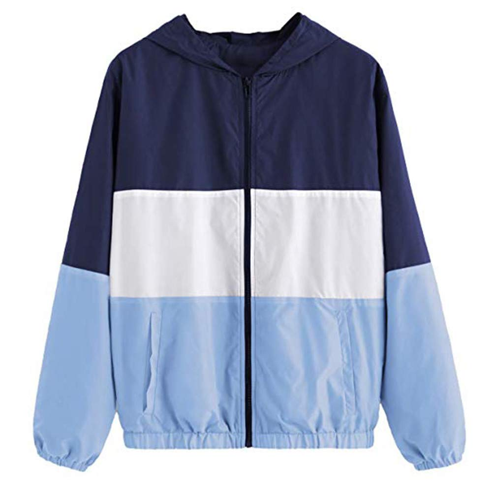 Women Casual Long Sleeve Color Collar Stand Collar Lightweight Zip up Top Bomber Jackets with Pockets(Blue,XL)
