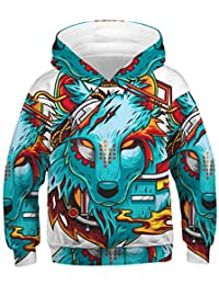 Vibome Boys Girls 3D Printed Hoodie for Kids Animal Hooded Pullover Sweatshirt