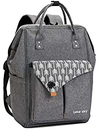 Lekesky Laptop Backpack 15.6 Inch Stylish Computer Backpack School Backpack Water Repellent Travel Backpack for Women and Men, Grey