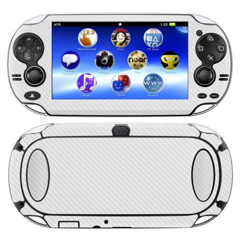 on PSP Vita WHITE Carbon Fiber skin skins decal for case cover wrap CFvitaWhite ()