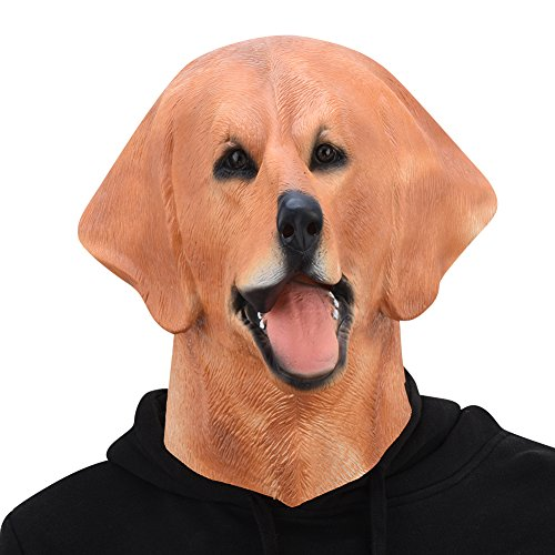 PARTY STORY Labrador Dog Mask Halloween Latex Animal Full Head Mask Novelty Costume Rubber (Halloween Costumes For Labradors)