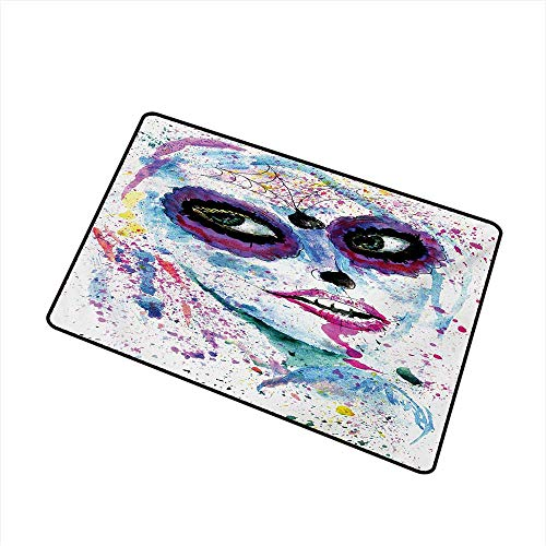 BeckyWCarr Girls Commercial Grade Entrance mat Grunge Halloween Lady with Sugar Skull Make Up Creepy Dead Face Gothic Woman Artsy for entrances, garages, patios W31.5 x L47.2 Inch,Blue -