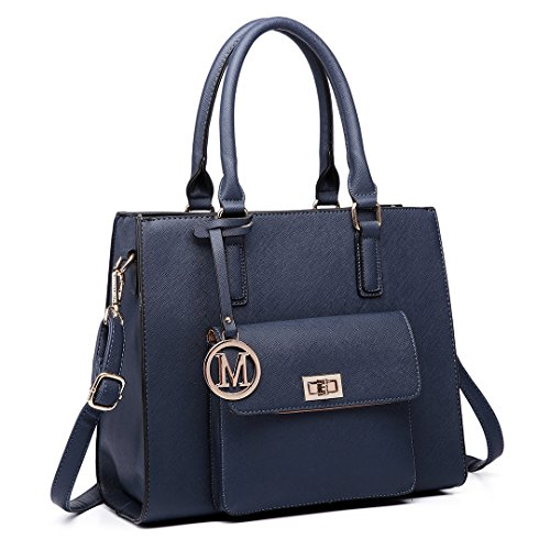 Faux 6635 Handbags Navy Bags Miss Tote Lulu Ladies Women Designer Shoulder Leather qvA1RO