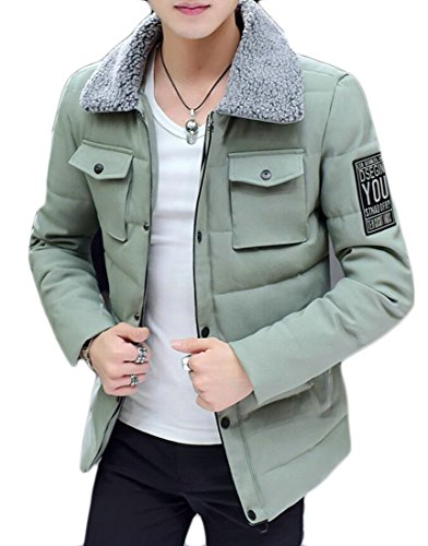Down M Fur Light amp;S Coats Casual Parkas Faux Outwear Green amp;W Collar Puffer Mens nrU8qX1xwr