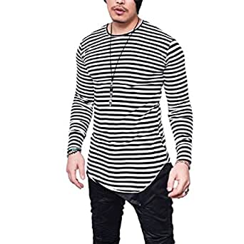 neveraway Mens O Neck Stripes T-Shirts Slim Fit Striped Hipster Tees Top Black 2XL
