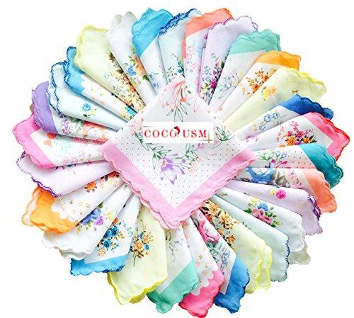 COCOUSM Womens Vintage Floral Print Cotton handkerchiefs Bulk ()