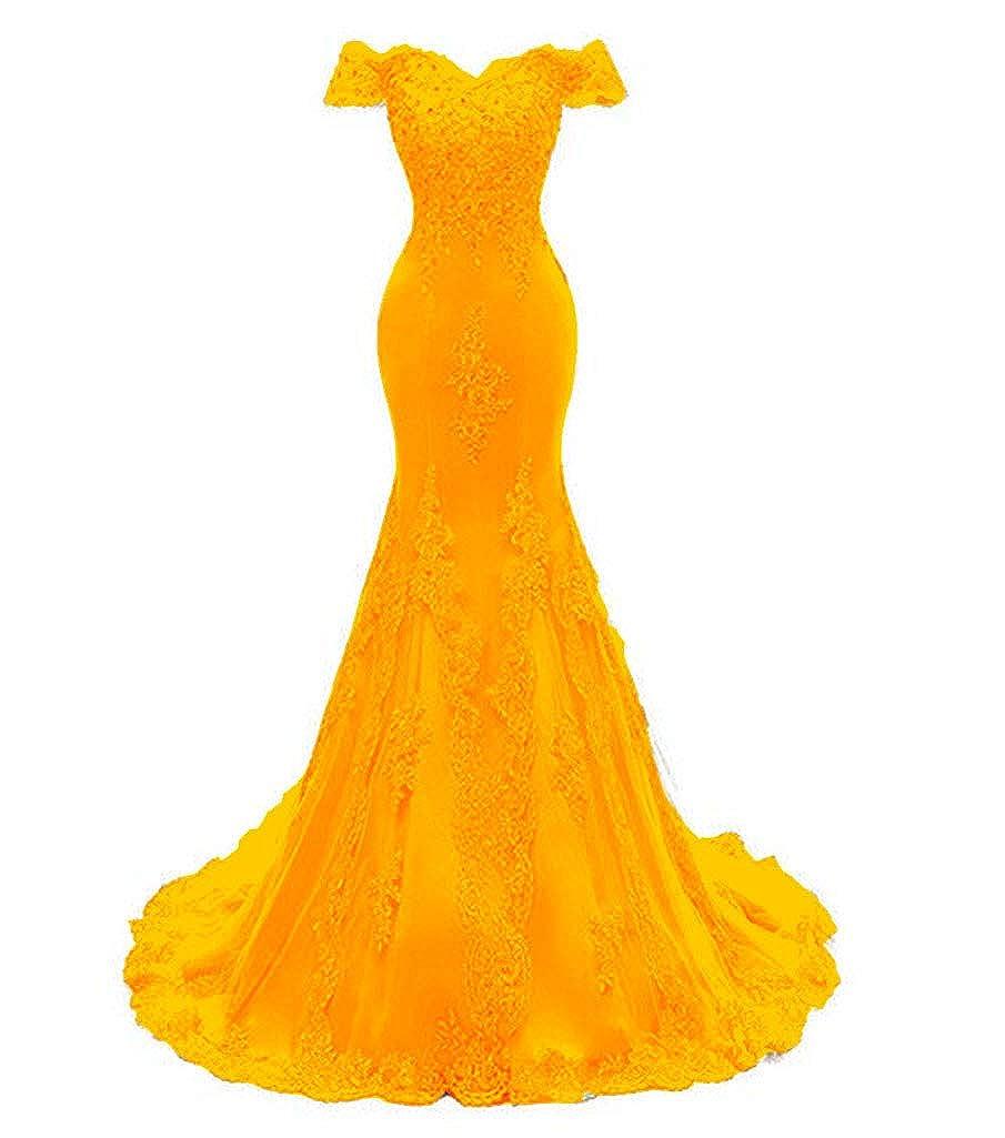 golden Aiyue Yishen Women's Mermaid Strapless Applique Prom Dresses Short Sleeve Long Evening Dresses