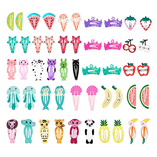 Price comparison product image 50 Pcs Snap Hair Clips,  Lovely Metal Baby Girls Hair Pins for Kids Toddlers Girls Hair Accessories