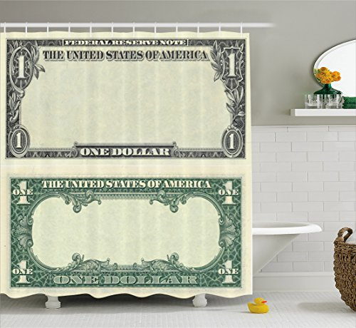 Money Shower Curtain by Ambesonne, One Dollar Bill Buck Design American Federal Reserve Note Pattern Wealth Symbol, Cloth Fabric Bathroom Decor Set with Hooks, 75 Inches Long, Pale Green - Commons Way Federal