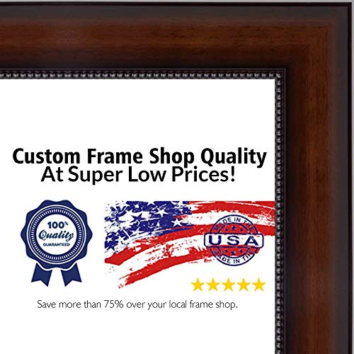 Poster Palooza 30x40 Traditional Walnut Wood Picture Frame - Complete with Frame Grade Acrylic, Backing, and Hardware