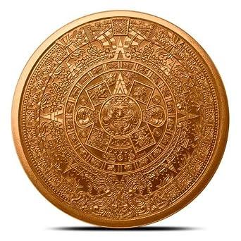 Aztec Calendar \ Emperor Cuauhtemoc    1oz .999 copper round