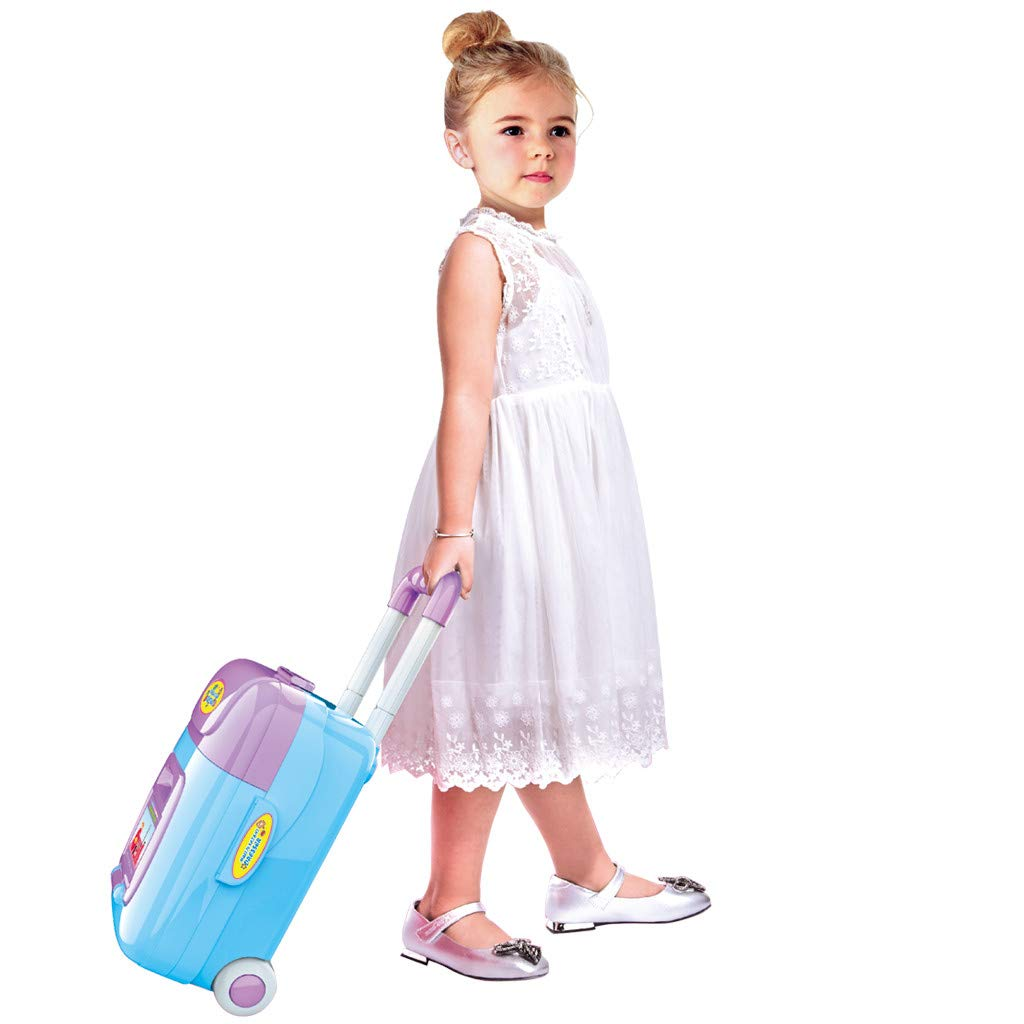 2 In 1 Beauty Salon Fashion Pretend Play Set, Multifunctional Music Suitcase Fantasy Vanity Beauty Dresser Table for Toddlers Kids Vanity Case Dress Up Toys Travel