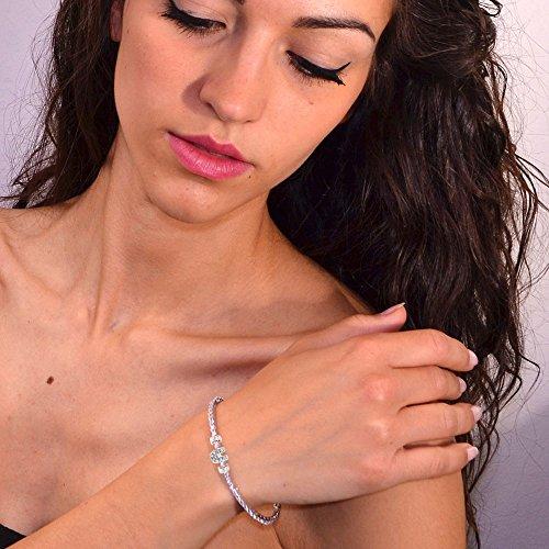 Tatitoto Bracelet Femme en Argent Fin 925/1000 Blanc avec Zircon Blanc, Ligne iTennis, Cm 17.5, 10 Grammes