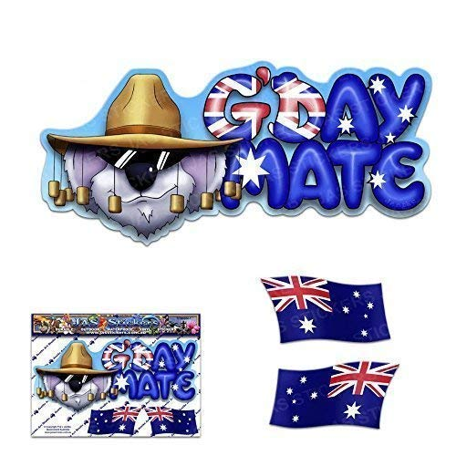 (Small G'DAY MATE Aussie AUSTRALIA Flag Koala Animal FUNNY Vinyl Window Bumper Car Stickers Decals For Laptop Caravans, Trucks, Boats- ST00004_SML - JAS Stickers)