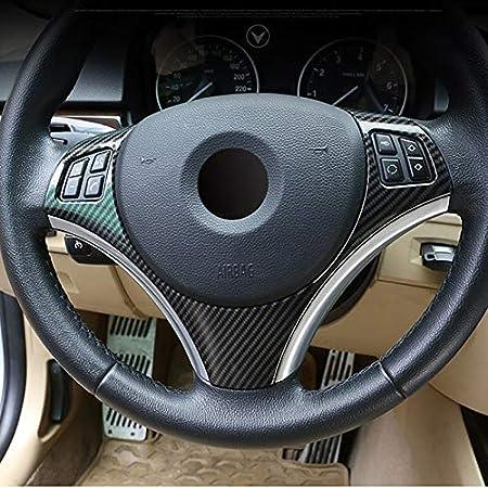 Ylrnhe Carbon Fiber Style Abs Für Bmw E90 3er Serie 2005 2012 Auto Lenkrad Dekoration Rahmen Trim Lenkradlehre Sport Freizeit