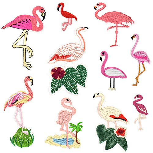 Flamingo Embroidered Iron on Patches for Women' Girls' Clothes Backpacks DIY Accessory (10 Pcs/Pack)