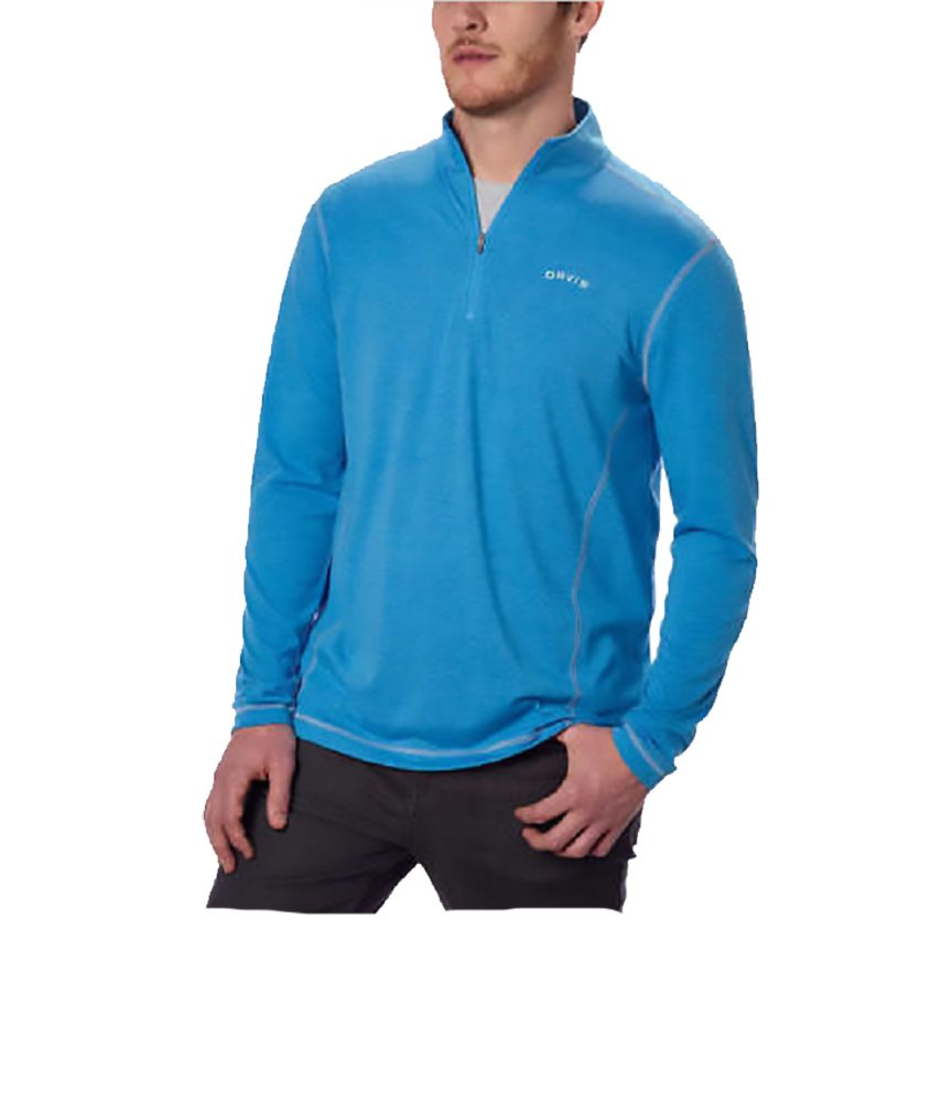 Orvis Mens Sandy Point 1/4 Zip Pullover, Blue Wave Large