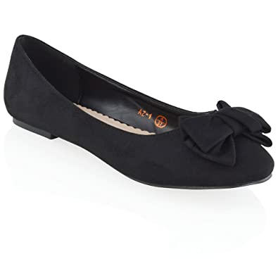 7e9573fb3b4 ESSEX GLAM New Womens Flat Pumps Slip On Bow Detail Loafers Ladies Ballet  Ballerina Dolly Shoes  Amazon.co.uk  Shoes   Bags