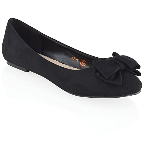 05971540b5b1 ESSEX GLAM New Womens Flat Pumps Slip On Bow Detail Loafers Ladies Ballet  Ballerina Dolly Shoes  Amazon.co.uk  Shoes   Bags