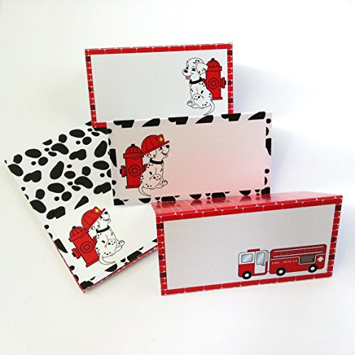 Firefighter Dalmatian Place Tent Cards - Fire Rescue Birthday Baby Shower Party Supplies - Set of - List Foods Fancy