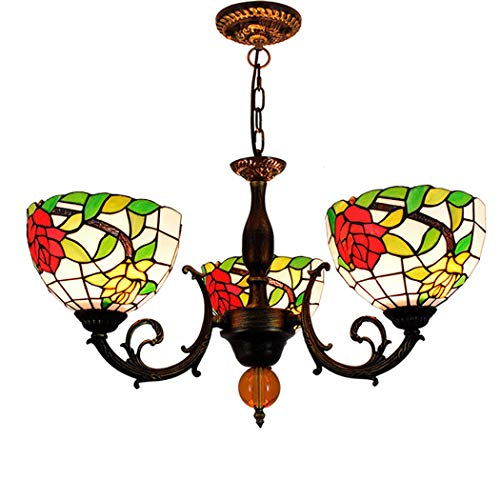 (Litaotao 22 Inch Tiffany Style 3 Arms Chandelier Bedroom Study Multi-Head Hanging Lamp Red Yellow Rose Handmade Stained Glass Decoration Shade,110-240V)