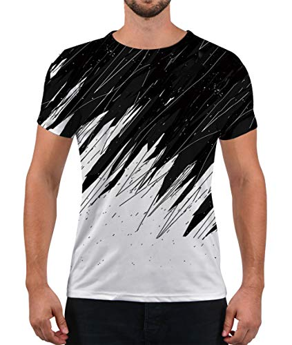 (Alistyle Unisex T-Shirts Fashion 3D Line Printed Short Sleeve Shirts)