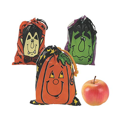Fun Express - Drawstring Halloween Goody Bags (lg)-3dz for Halloween - Party Supplies - Bags - Plastic Bags - Halloween - 36 -