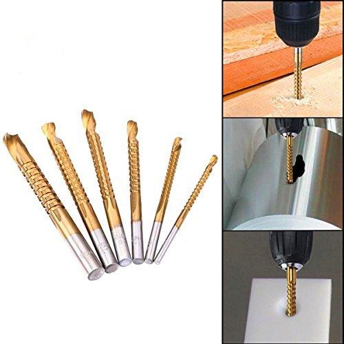 Jelbo 6Pcs 3/4/5/6/6.5/8mm 6Sizes High Speed Steel HSS Titanium Coated Woodworking Masonry Saw Twist Drill Bit Sets,Wood Steel Plastic Industrial Processing Tool